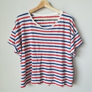 Madewell Red Blue Stripe Linen Oversize Tee Shirt